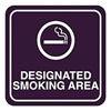 Intersign 62187-15 RED Smoking Area Sign, 5-1/2 x 5-1/2In, WHT/R