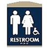 Intersign 62109-6 NAVY BLUE Restroom Sign, 9-1/8 x 7In, WHT/Navy BL
