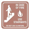 Intersign 62189-4 COUNTRY STON Fire Stairways Sign, 5-1/2 x 5-1/2In, ENG