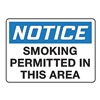 Accuform Signs MSMK808VA Smoking Area Sign, 10 x 14In, AL, ENG, Text