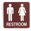 Sign Comply 42285-16 BURGUNDY Restroom Sign, 8 x 8In, WHT/Burgundy, PLSTC