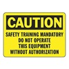 Accuform Signs MEQM701VS Caution Sign, 10 x 14In, BK/YEL, ENG, Text