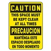 Accuform Signs SBMVHR641VS Caution Sign, 14 x 10In, BK/YEL, Bilingual