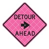 Usa-Sign C/36-SBFP-3FH-HD-DETOUR AHEAD Detour Sign, 36 x 36In, BK/FLUOR Pink