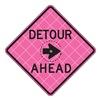 Usa-Sign C/36-SBFP-3FH-HD-DETOUR AHEAD Detour Sign, 36 x 36In, BK/FLUOR Pink