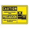 Accuform Signs SBMCHL615MVA Caution Sign, 10 x 14In, BK/YEL, AL, SURF