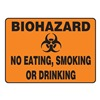 Accuform Signs MBHZ503VP Biohazard Sign, 7 x 10In, BK/ORN, PLSTC