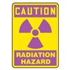 Accuform Signs MRAD701VA Caution Radiation Sign, 10 x 7In, Pink/YEL