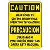 Accuform Signs SBMEQM743VP Caution Sign, 14 x 10In, BK/YEL, PLSTC, Text
