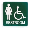 Intersign ALTC-RG31 GREEN Restroom Sign, 8 x 8In, WHT/GRN, Restroom