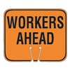Tapco 535-00028 Traffic Cone Sign, Orng/Blk, Workers Ahead