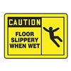 Accuform Signs MSTF619VA Caution Sign, 10 x 14In, BK/YEL, AL, ENG