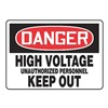 Accuform Signs MELC044VA Danger Sign, 10 x 14In, R and BK/WHT, AL, HV