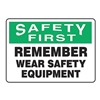 Accuform Signs MPPE930VA Caution Sign, 7 x 10In, GRN and BK/WHT, AL