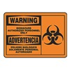 Accuform Signs SBMBHZ301MVA Warning Biohazard Sign, 10 x 14In, BK/ORN