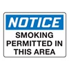 Accuform Signs MSMK808VP Smoking Area Sign, 10 x 14In, PLSTC, ENG