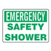 Accuform Signs MFSD919VP Safety Shower Sign, 10 x 14In, GRN/WHT, ENG