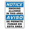 Accuform Signs SBMSMK806VA Smoking Area Sign, 14 x 10In, AL, Bilingual