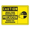 Accuform Signs SBMPPE417MVS Caution Sign, 10 x 14In, BK/YEL, Bilingual
