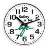 Sales &amp; Marketing Associates 519W WHITE CASE Wall Clock, Safety is for Life, 12 in.