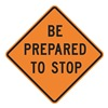 Lyle W3-4-BO-30HA Stop Sign, 30 x 30In, BK/ORN, Text