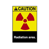 Brady 45165 Caution Radiation Sign, 10 x 7In, ENG, SURF