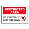 Brady 95470 Admittance Sign, 10 x 14In, BK and R/WHT