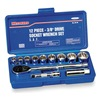 Westward 4PL88 Socket Set, Std, SAE, 3/8Dr, 12Pt, 12Pc