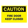 Brady 84700 Fire Door Sign, 10 x 14In, BK/YEL, ENG, Text