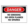 Brady 42660 Danger No Smoking Sign, 10 x 14In, AL, ENG