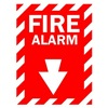 Brady 25708 Fire Alarm Sign, 14 x 10In, WHT/R, Fire ALM