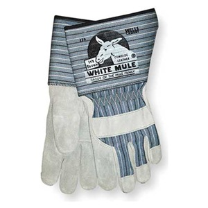 White Mule® Leather Palm Gloves are Brands, Hand Protection, Leather & Work, Wells Lamont Industrial, Work Safety offered by the #1 Online Safety Equipment Supplier. Features of these include Strong and durable. Premium pearl gray side split cowhide palm and knuckle strap with canvas back. Gunn cut with straight thumb. Gauntlet cuff (L).