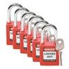 Brady 51339 Lockout Padlock, Fiberglass, Red, PK 6