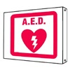 Brady 45452 Notice Sign, 8 x 8In, R/WHT, AED, ENG