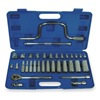 Westward 1EZR6 Socket Set, SAE, 3/8 In Dr, 34 PC