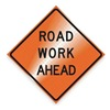 Dicke RUR48-200RWAB Work Ahead Sign, 48 x 48In, BK/ORN, Text