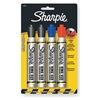 Sharpie 15674PP Permanent Marker, Chisel, Blck, Bl, Red, PK4