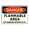 Brady 102480 Danger No Smoking Sign, 7 x 10In, ENG, Text
