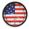Approved Vendor 2CHY3 Clock, Rnd, Anlg, US Flag, 14in, Black