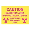Brady 25282 Caution Radiation Sign, 7 x 10In, Pink/YEL