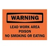 Brady 25740 Warning No Smoking Sign, 7 x 10In, BK/ORN