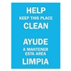 Brady 90791 Notice Sign, 14 x 10In, WHT/BL, Bilingual