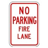 Brady 112626 Fire Lane Sign, 18 x 12In, R/WHT, ENG, Text