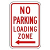 Zing 2371 Parking Sign, 18 x 12In, R/WHT, R7-6L, MUTCD