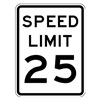 Lyle R2-1-25-18HA Traffic Sign, 24 x 18In, BK/WHT, SP LIM 25