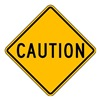 Lyle LW9-11B-24HA Traffic Sign, 24 x 24In, BK/YEL, CAUT, Text