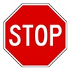Lyle R1-1-12HA Traffic Sign, 12 x 12In, WHT/R, Stop, Text