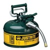 Justrite 7210420 Type II Safety Can, Green, 10-1/2 In. H