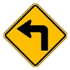 Lyle W1-1L-24HA Traffic Sign, 24 x 24In, BK/YEL, SYM, W1-1L