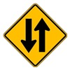 Lyle W6-3-24HA Traffic Sign, 24 x 24In, BK/YEL, SYM, W6-3